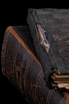 Ancient Books On Black Royalty Free Stock Photography