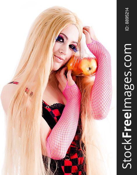 Harajuku girl with apple bag