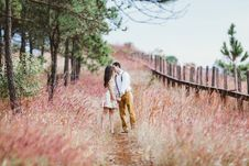 Free Couple Kissing On Path Royalty Free Stock Photo - 88982525
