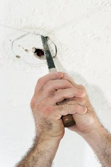 Free Cutting Hole For Ceiling Box Stock Image - 890791