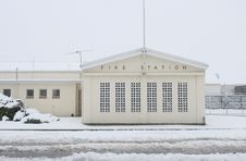 Free Rural Fire Station In Snowstorm Royalty Free Stock Images - 894289
