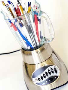 Blender Full Of Pens And Pencils Stock Photos