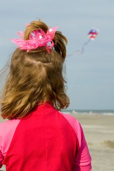 Beach Girl With Kite Royalty Free Stock Photo