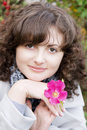Free Girl On A Background Of Flowers And Fruits Dogrose Stock Image - 8903421