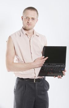 Free Unhappy Man With Notebook Stock Image - 8901661