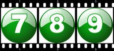 Free 7,8,9 Green Number Film Strip Royalty Free Stock Photos - 8904318