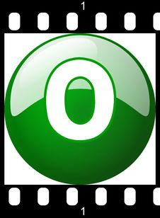 Free 0 Green Number Film Strip Stock Image - 8904321
