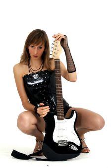 Free Woman With Electric Guitar Royalty Free Stock Photos - 8907668