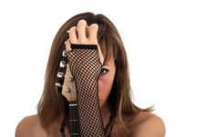 Woman Portrait With Electric Guitar Stock Image