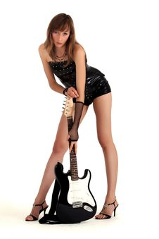 Woman With Electric Guitar Stock Photos