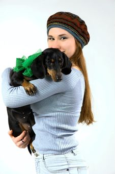 Free The Teenager And A Dog Stock Photo - 8909890
