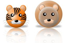 Tiger And Lion Animals Icons Royalty Free Stock Photography