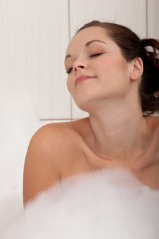 Body Care - Young Woman With Foam Stock Images