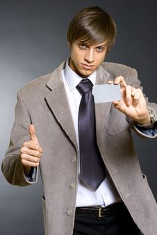 Business Man Showing A Blank Card Stock Photography