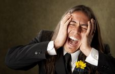 Free Handsome Man In Formalwear Screaming Stock Photos - 8911313