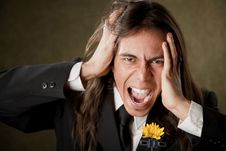 Free Handsome Man In Formalwear Screaming Stock Photography - 8911422
