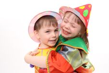 Free Children S Embraces. Clowns. Royalty Free Stock Images - 8912009