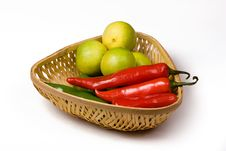 Free Lemon Chili Basket Stock Image - 8912351