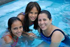 Free Mother With Her Beautiful  Daughters In  The Pool. Stock Photos - 8913503