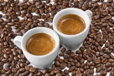 Espresso And Coffee Beans Stock Image