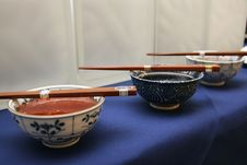 Three China Bowls With Dippers Royalty Free Stock Images