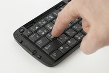 Free Finger Pushing Button On Compact Kefinyboard Stock Images - 8915714