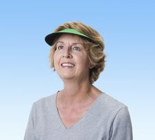 Mature Woman Gazing Into The Blue Sky Stock Photography