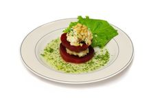 A Plate With Double-floor Beet With Salad Leaf Stock Photo