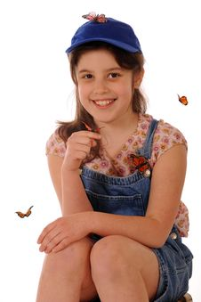 Butterfly Girl Stock Photography
