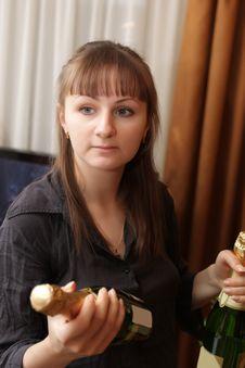 Free Girl With Wine Stock Photos - 8919193