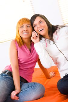 Free Two Girls With Cellphone Stock Photos - 8919823