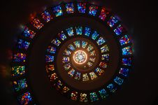 Free Worms Eye View Of Spiral Stained Glass Decors Through The Roof Royalty Free Stock Images - 89128499