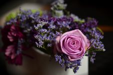 Free Pink Roses And Purple Lavander Boquet Royalty Free Stock Image - 89192886