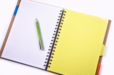 Free Green Click Pen On A White Graphing Notebook Stock Photo - 89192970