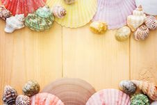 Free Seashell Border On Wooden Planks Stock Image - 89194181