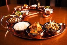 Free Tray Of Indian Dishes On Table Stock Photos - 89195433