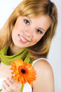 Free Smiling Woman With A Flower Royalty Free Stock Image - 8924956
