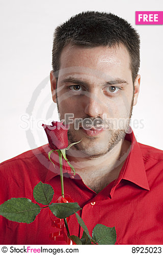 Free Man In Red Shirt With Red Rose Stock Photos - 8925023