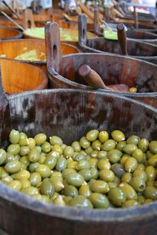 Olives In A Wooden Barrel Royalty Free Stock Image