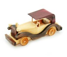 Retro Car Wooden Model Isolated Stock Photography