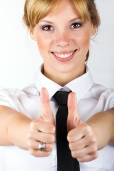 Free Business Woman With Thumbs Up Royalty Free Stock Images - 8924989