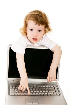 Free Baby And Laptop Stock Images - 8925194