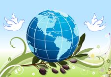 Free Peace To The Earth With White Doves Stock Images - 8925604