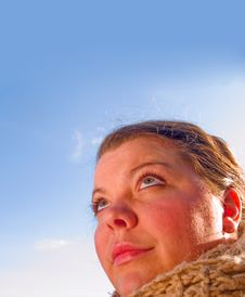 Beauty - Close Up Portrait Of A Woman Looking Up Stock Photos