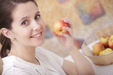 Girl With An Apple Royalty Free Stock Photo