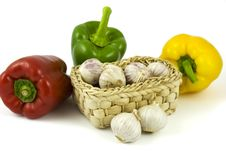 Free Bell Peppers And Basket With Garlics Royalty Free Stock Image - 8927286