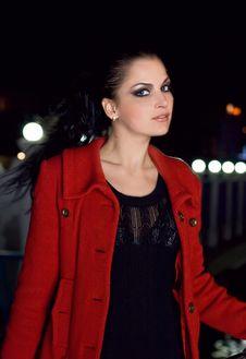 Free Brunette Walks On A Night City Stock Photos - 8929063