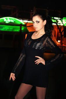 Free Brunette Walks On A Night City Stock Photos - 8929073