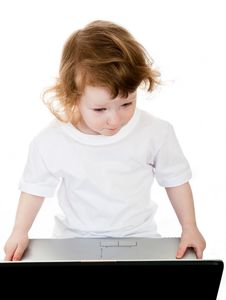 Free Baby And Laptop Royalty Free Stock Photos - 8929198
