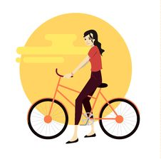 Active Young Man Riding On Bicycle. Stock Photography